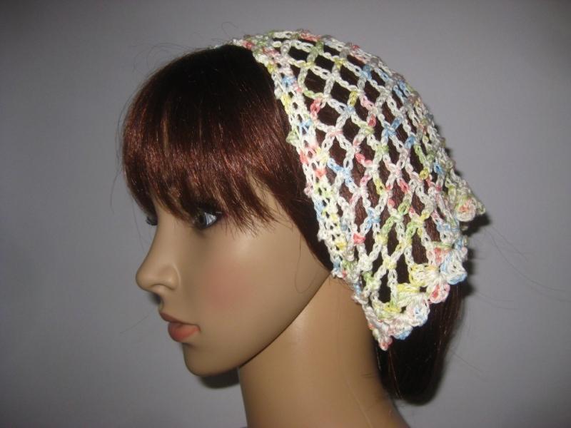 - Kopftuch, Haarband, Haarschmuck, gehäkelt aus Baumwolle - Kopftuch, Haarband, Haarschmuck, gehäkelt aus Baumwolle
