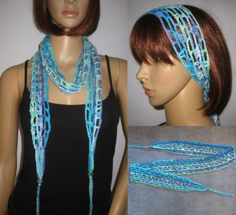 - Schmuckschal, Haarband, Häkelschal, Sommerschal aus Baumwolle - Schmuckschal, Haarband, Häkelschal, Sommerschal aus Baumwolle