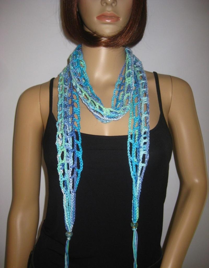 Kleinesbild - Schmuckschal, Haarband, Häkelschal, Sommerschal aus Baumwolle