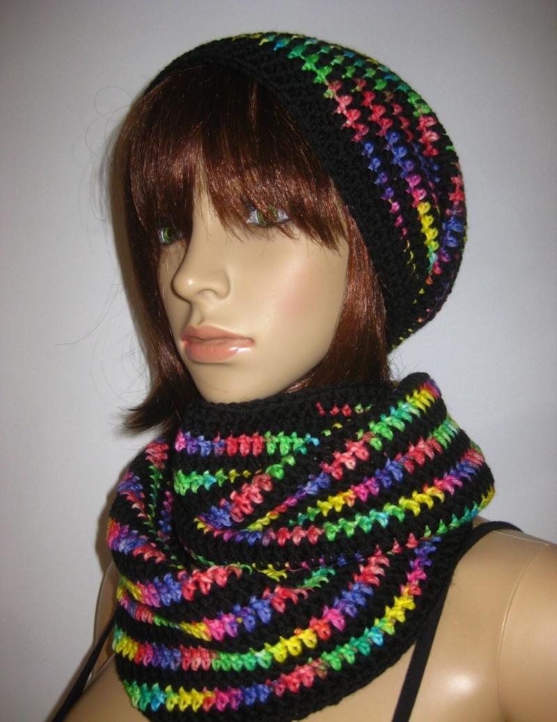 Kleinesbild - Set: Schlauchschal, Mütze, Stirnband und Armstulpen in leuchtenden Farben