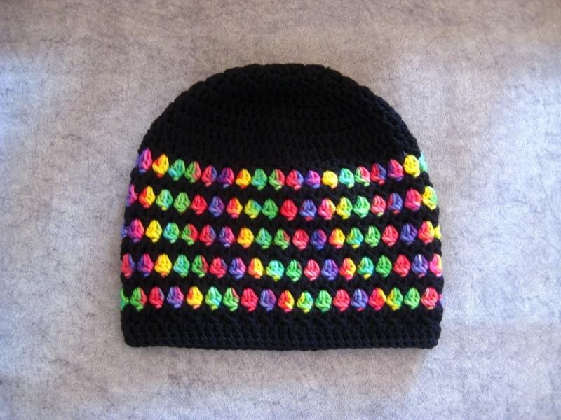 Kleinesbild - Mütze, gehäkelt, schwarz und bunt, Beanie, Häkelmütze