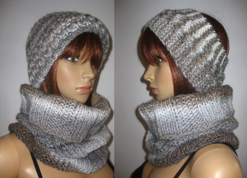 - Set: Schlauchschal, Mütze und Stirnband, gestrickt aus weicher Wolle - Set: Schlauchschal, Mütze und Stirnband, gestrickt aus weicher Wolle