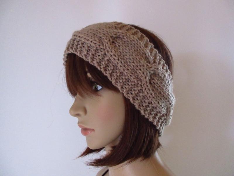 Kleinesbild - Stirnband aus weicher Wolle mit Zopfmuster, Ohrwärmer, Haarband