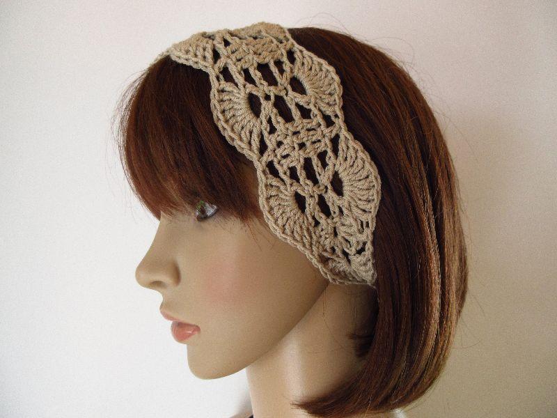 Kleinesbild - Haarband aus elastischer Baumwolle, Stirnband, Haarschmuck, gehäkelt