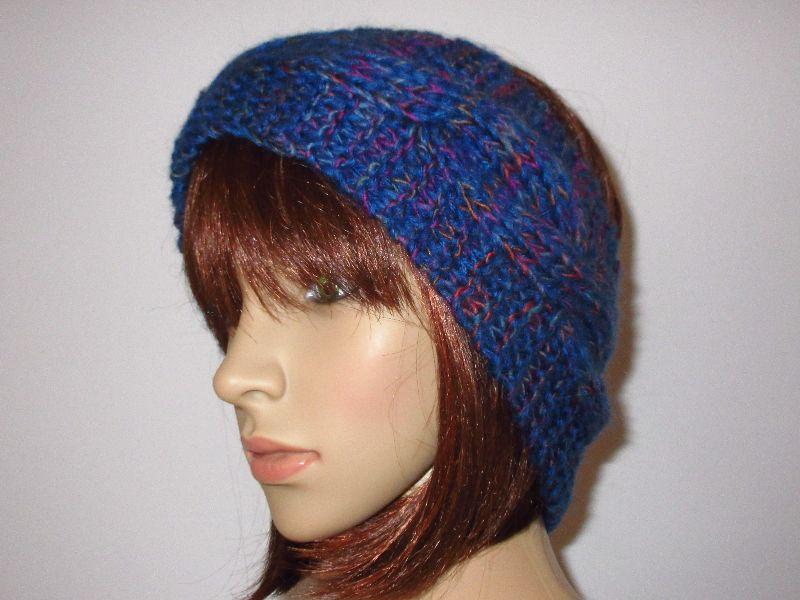 Kleinesbild - Stirnband aus weicher Wolle mit Zopfmuster und etwas Mohair, Ohrwärmer, Haarband