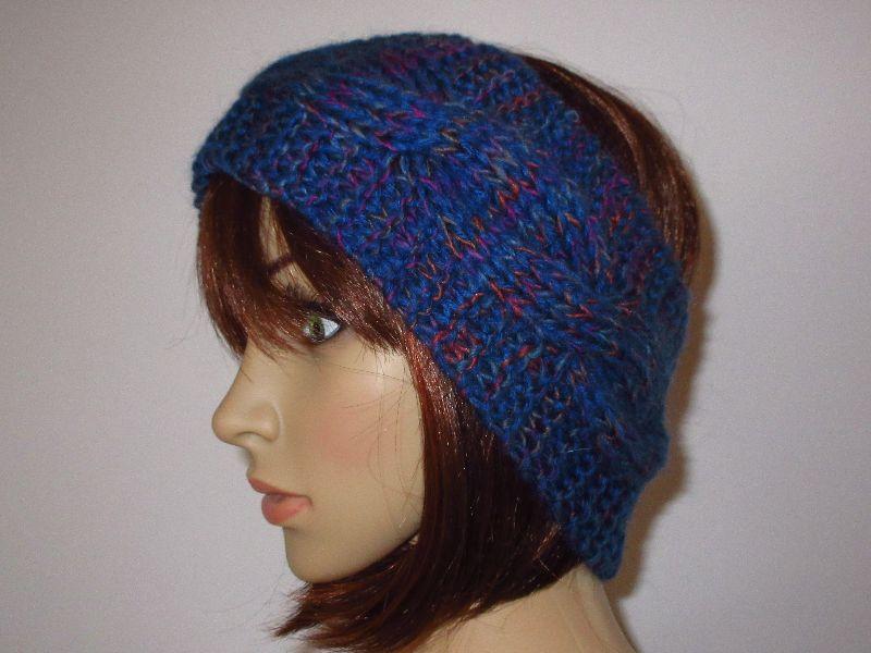 - Stirnband aus weicher Wolle mit Zopfmuster und etwas Mohair, Ohrwärmer, Haarband - Stirnband aus weicher Wolle mit Zopfmuster und etwas Mohair, Ohrwärmer, Haarband