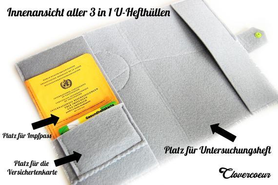 Kleinesbild - U-Hefthülle STERN ~ STAR 3 in 1 U-Heft Hülle grau grün