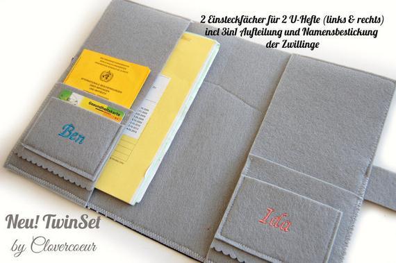 Kleinesbild - ZwillingSet TwinSet 3 in 1 U-Heft Hülle U-Hefthülle Anker Zwillinge türkis