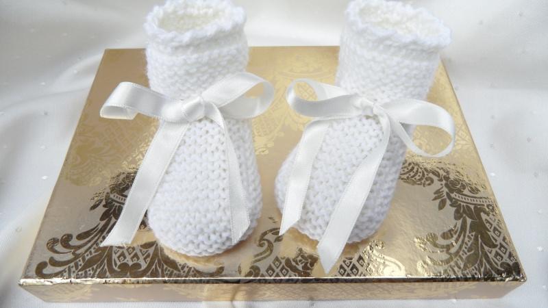 Kleinesbild -  Gestrickte Taufschuhe in weiß aus Wolle (Merino) , handgestrickt. Größe nach Wahl.  Für Taufe und festliche Anlässe - 1379