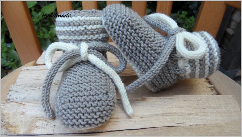 Kleinesbild - Handgestrickte Babyschuhe, Größe: 3-6 Mon., aus Wolle (Merino).