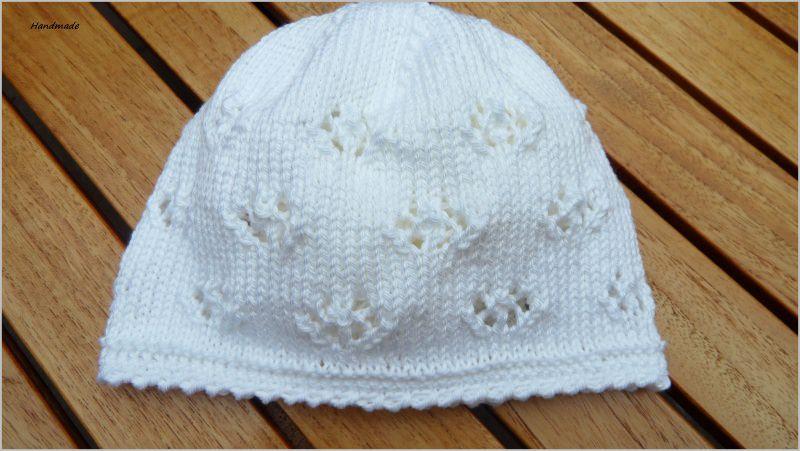 Kleinesbild - Babymütze, Taufmütze, handgestrickt aus Baumwolle in weiß