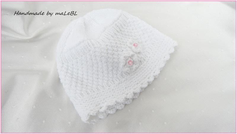 Kleinesbild - Gestrickte Babymütze, Taufmütze, weiß, Baumwolle, handgestrickt