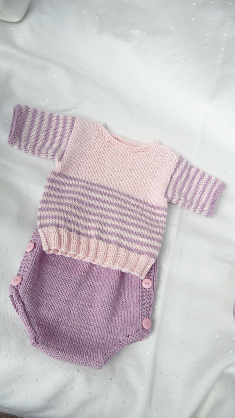 Kleinesbild - Gestricktes Neugeborenenset, für kleine Mädchen aus Biobaumwolle