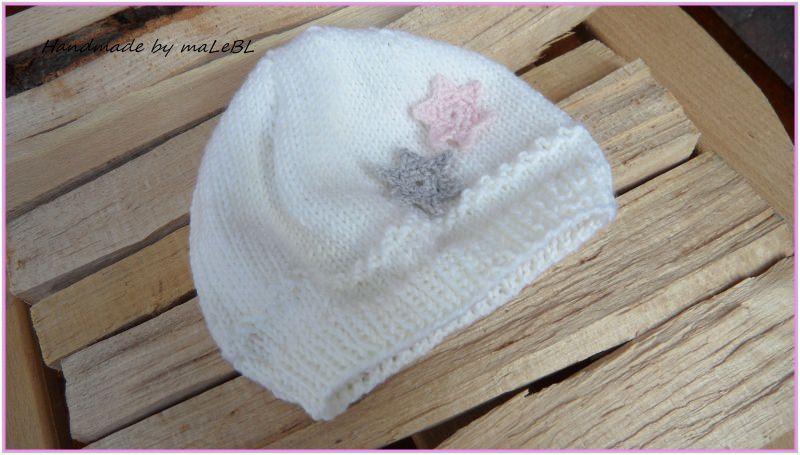 Kleinesbild - Strickmütze, Babymütze  Gr. 0-3 Mon. weiß, rosa, handgestrickt
