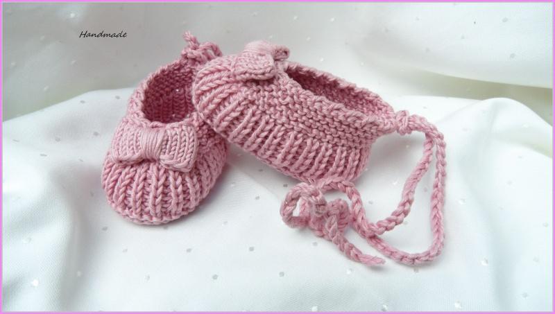 - Babyschuhe Ballerina, handgestrickt, Baumwolle, Gr. 2-4 Mon. rosa - Babyschuhe Ballerina, handgestrickt, Baumwolle, Gr. 2-4 Mon. rosa