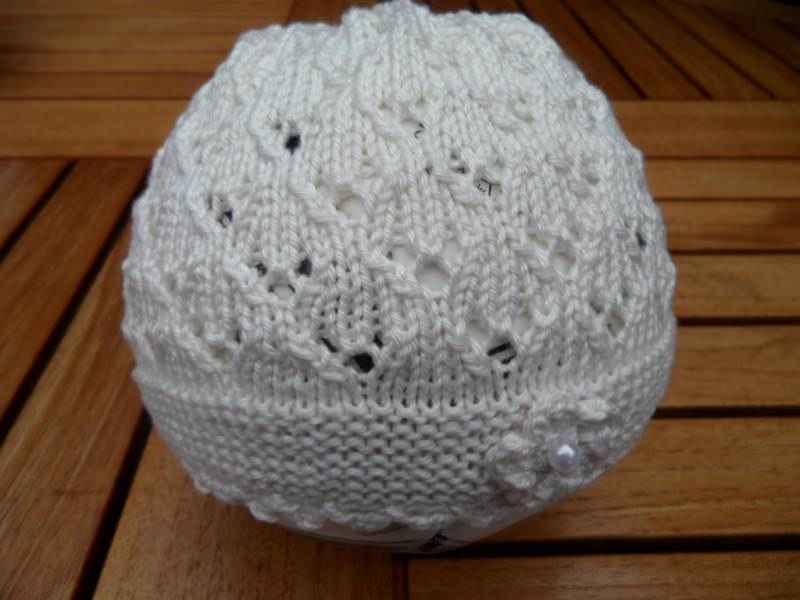 Kleinesbild -  Taufset, Taufmütze, Taufschuhe, weiß, Baumwolle, handgestrickt
