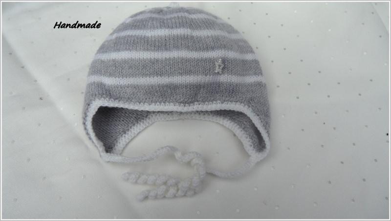 - Babymütze handgestrickt, Gr. 0-3 Mon, silbergrau/weiß aus Merino - Babymütze handgestrickt, Gr. 0-3 Mon, silbergrau/weiß aus Merino