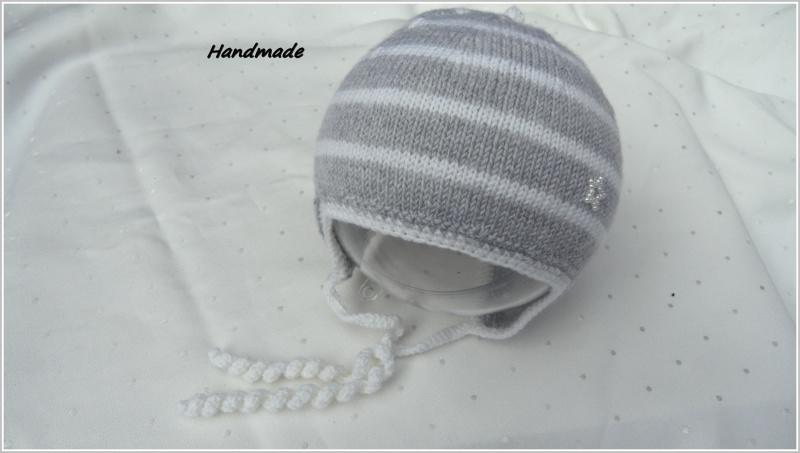 Kleinesbild - Babymütze handgestrickt, Gr. 0-3 Mon, silbergrau/weiß aus Merino