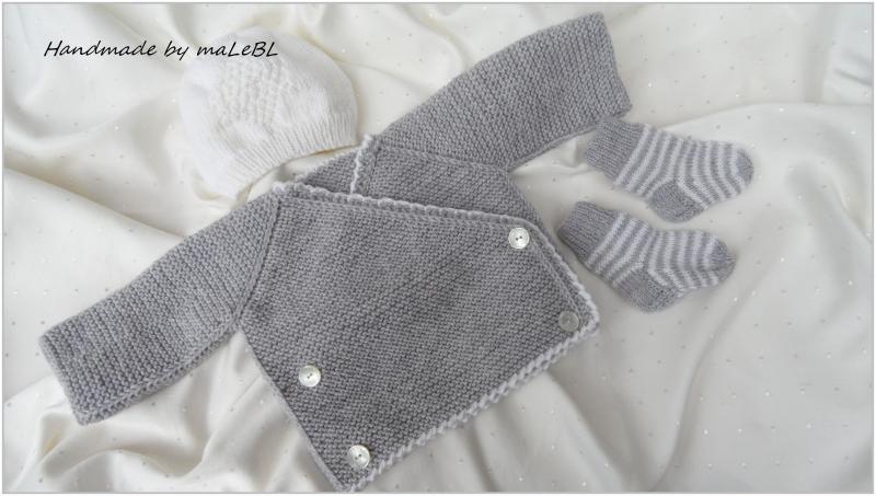 Kleinesbild - Neugeborenenset handgestrickt aus Wolle (Merino) in grau/weiß