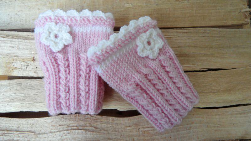 Kleinesbild - Babypulswärmer, Baby-Armstulpen handgestrickt aus Wolle, rosa