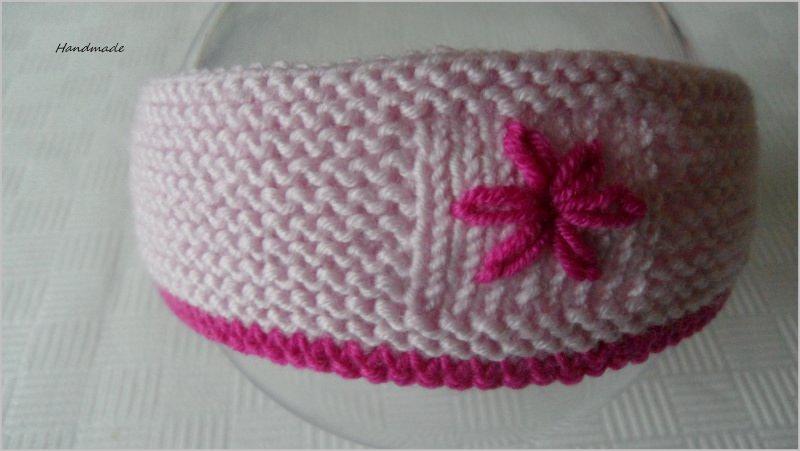 Kleinesbild - Gestricktes Haarband/Stirnband für kleine Mädchen, rosa/pink