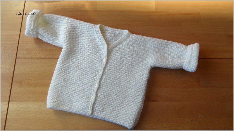 Kleinesbild - Taufjacke, handgestrickt aus Wolle (Merino) in wollweiß