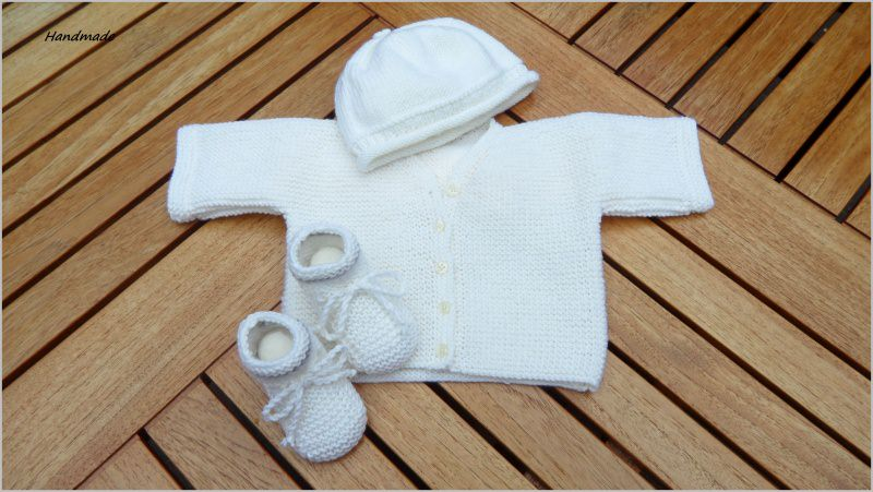 Kleinesbild - Handestrickte Babyhose aus 100 % Wolle (Merino) in grau