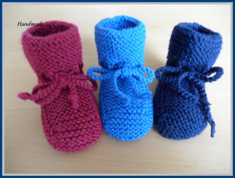 Kleinesbild - Handgestricke Babyschuhe, Größe: 3-6 Mon., 100 % Wolle (Merino)