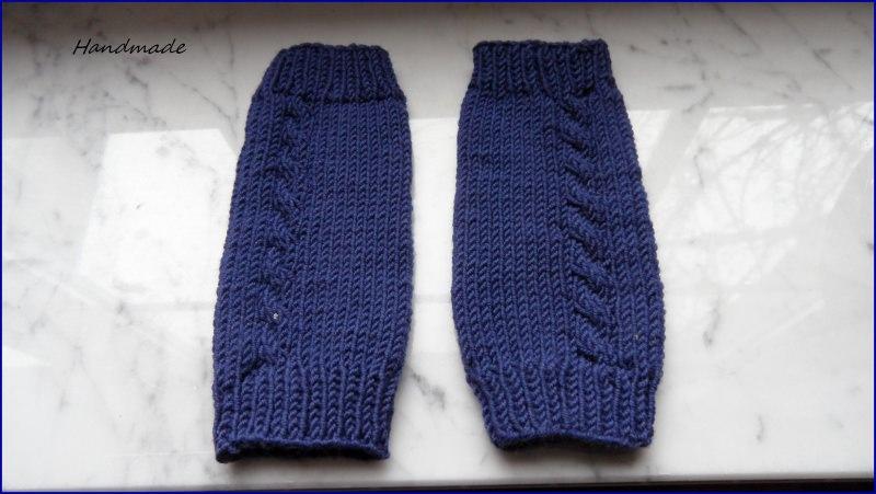 Kleinesbild - Strickstulpen,  Babystulpen, jeansblau, Merino, handgestrickt