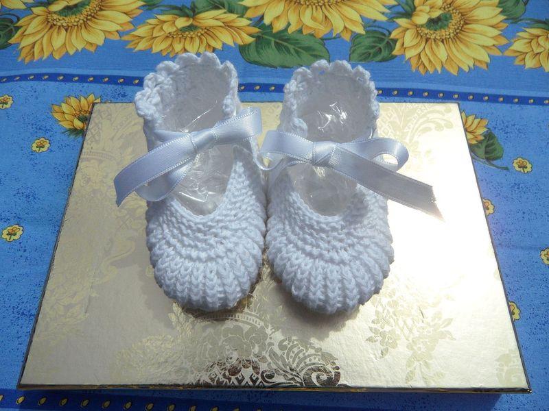 Kleinesbild - Babyset, Taufset - Taufmütze, Taufschuhe aus Baumwolle gestrickt