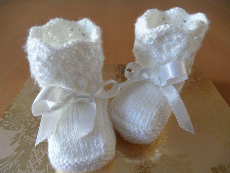 Kleinesbild - Gestrickte Taufschuhe, Gr. 0-3 Mon. Babyschuhe, Baumwolle, weiß.