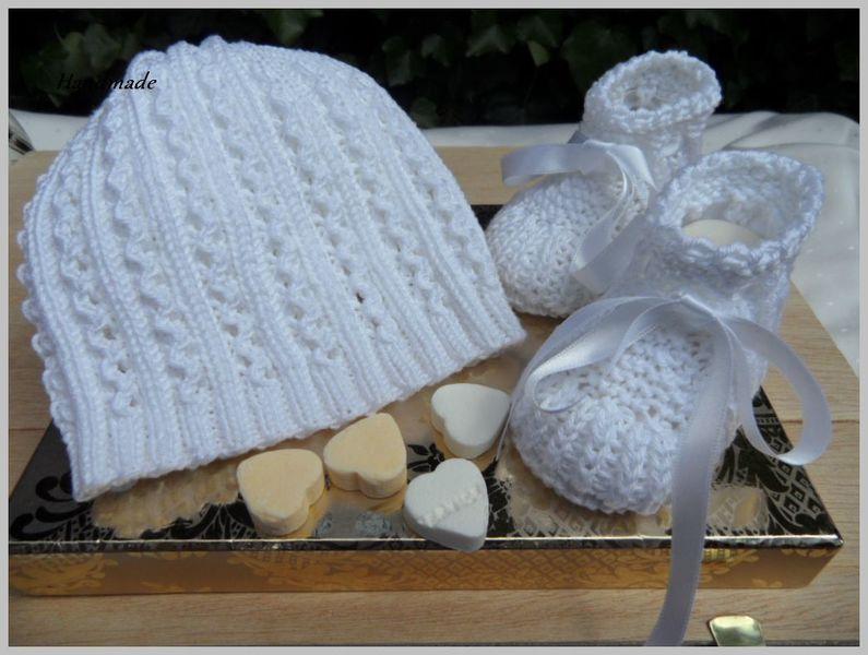 Tauf Set Babymütze Babyschuhe Weiß Aus Baumwolle Handgestrickt Toll Zur Taufe Oder Als Geschenk Zur Geburt 1101