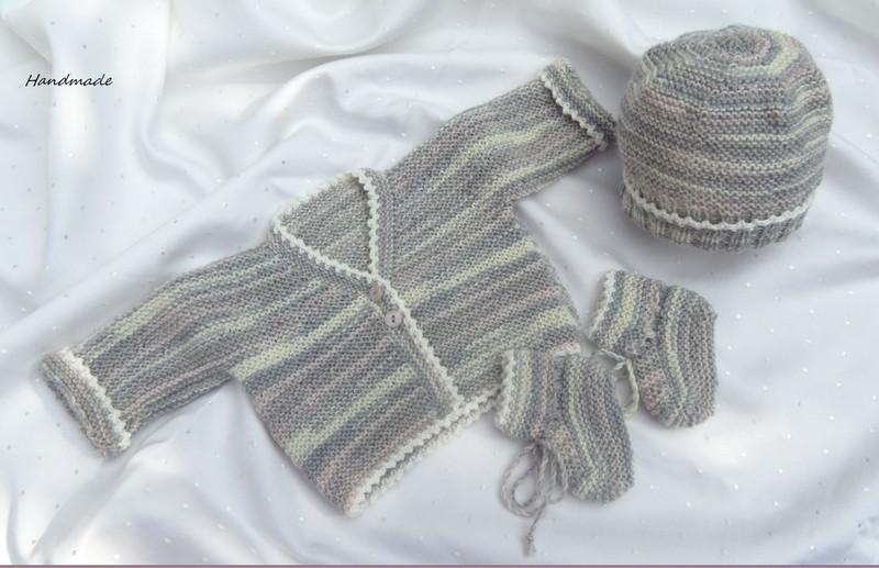 Kleinesbild - Handgestrickte Frühchenjacke, Babyschuhe, und Babymütze,Größe 44