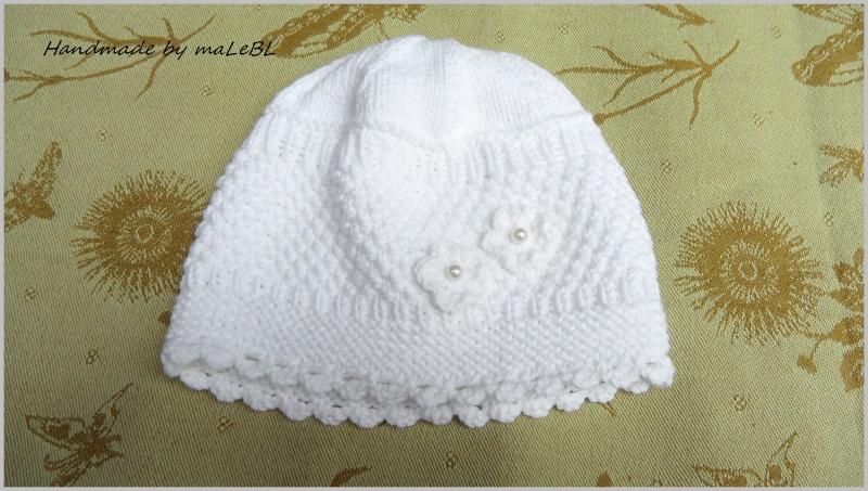 Kleinesbild - Babyset,  Taufmütze, Taufschuhe, Taufset aus  Baumwolle handgestrickt kaufen  - 1388