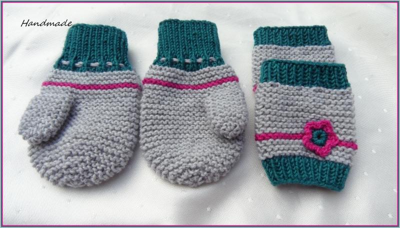Kleinesbild - Gestrickte Babyhandschuhe in silbergrau/pink/smaragd mit Kordel. Die Handschuhe sind aus Wolle (Merino)  handgestrickt. Auch toll als Geschenk zur Geburt oder Taufe - 1301
