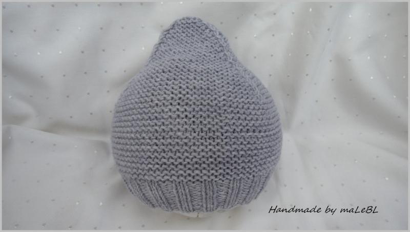 Kleinesbild - Zwergenmütze, handgestrickte Babymütze in silbergrau aus Wolle (Merino). Auch toll als Geschenk zur Geburt oder Taufe - 1369