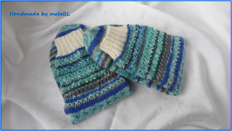 Kleinesbild - Handgestrickte Wollsocken, Stricksocken grün/blau, Größe nach Wahl
