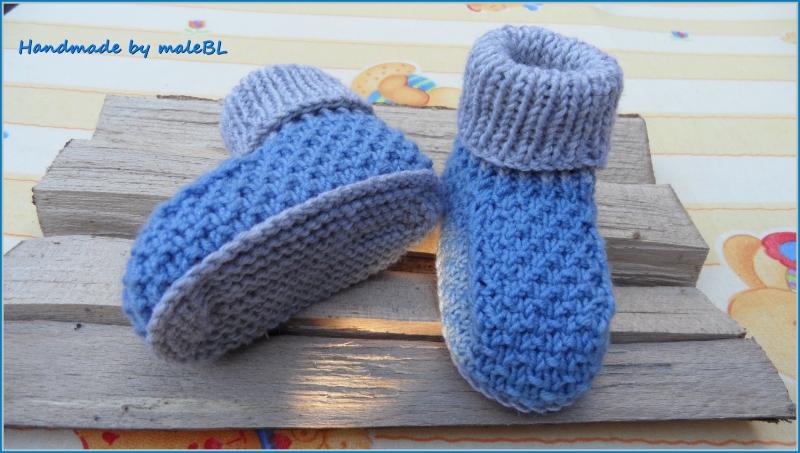 Kleinesbild - Babyschuhe, Babyhüttenschuhe aus Wolle (Merino), für 3-6 Mon.