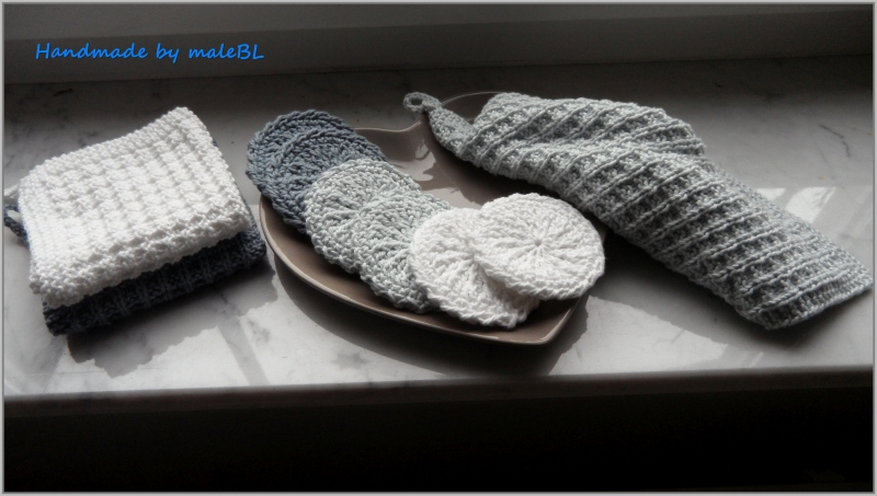 Kleinesbild - 6 Abschminkpads, Kosmetikpads, waschbar, doppellagig, grau, weiß
