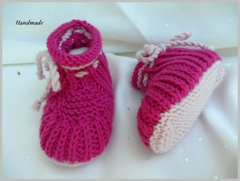 - Babyschuhe aus Wolle Merino, für Mädchen, pink, rosa - Babyschuhe aus Wolle Merino, für Mädchen, pink, rosa