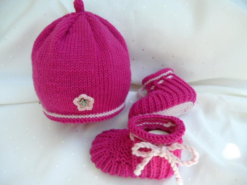 Kleinesbild - Babyschuhe aus Wolle Merino, für Mädchen, pink, rosa