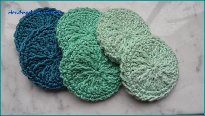 Kleinesbild - Handgestrickte Waschlappen, Seifentuch aus Baumwolle, Mint, Grün