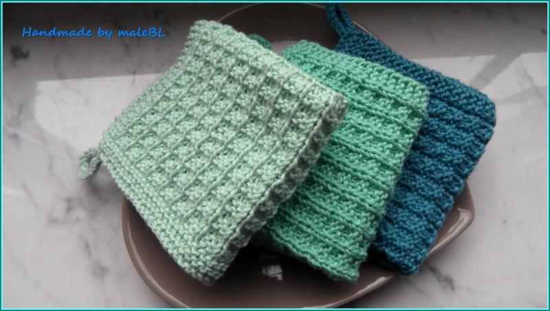 - Handgestrickte Waschlappen, Seifentuch aus Baumwolle, Mint, Grün - Handgestrickte Waschlappen, Seifentuch aus Baumwolle, Mint, Grün