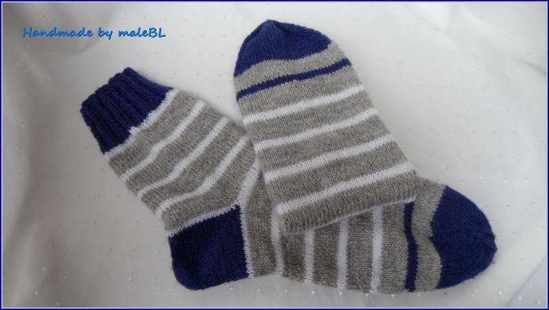 Kleinesbild - Wollsocken handgestrickt,  Socken Gr. 42/43, grau, blau