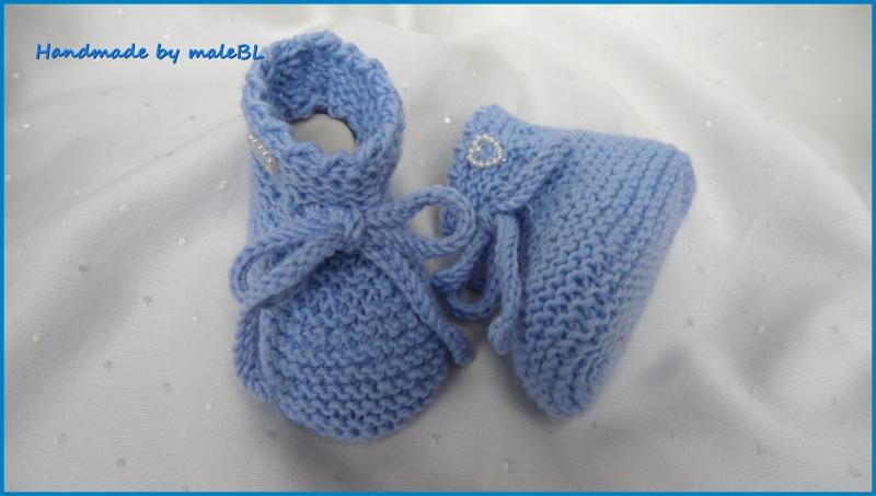 -  Babyschuhe in hellblau, handgestrickt für kleine Jungen  -  Babyschuhe in hellblau, handgestrickt für kleine Jungen