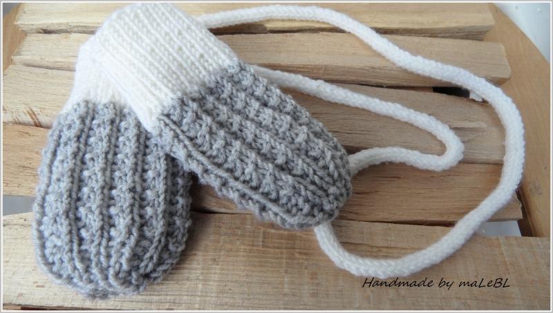 Kleinesbild - Babyhandschuhe, Babyfäustlinge – gestrickte Kordel - Wolle