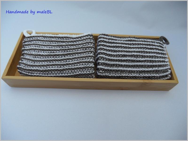 Kleinesbild - 1 Paar Topflappen, handgestrickt aus 100 % Baumwolle