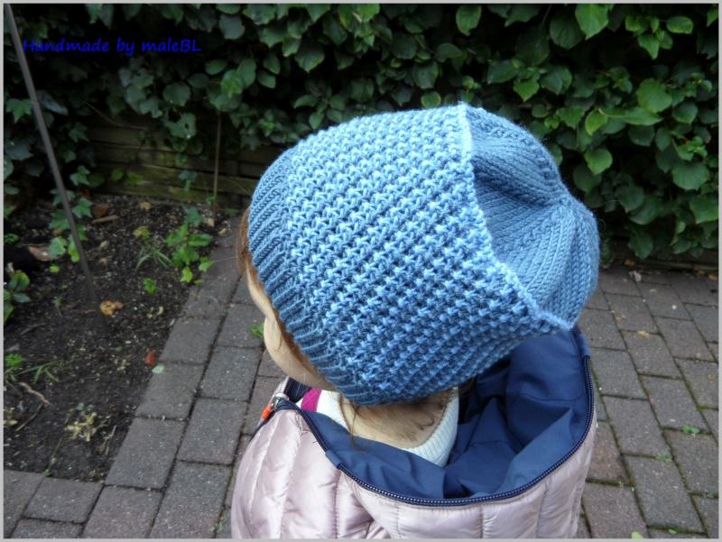 Kleinesbild - Kindermütze, handgestrickt aus Wolle (Merino) blau