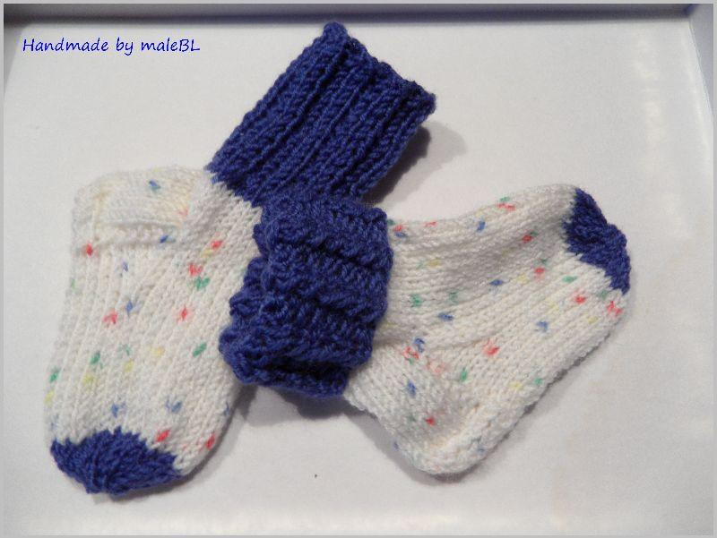 Kleinesbild - Babysocken für Jungen, Geschenk zur Geburt, Blau, Weiß