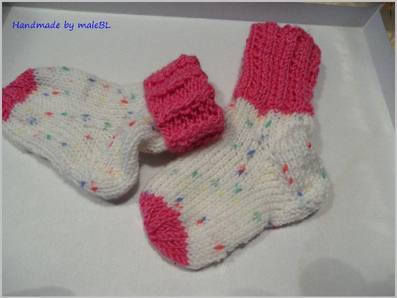 Kleinesbild - Babysocken für Mädchen, Geschenk zur Geburt, pink, weiß